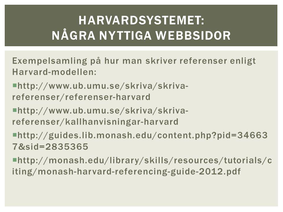 Exempelsamling på hur man skriver referenser enligt Harvard-modellen:  http://www.ub.umu.se/skriva/skriva- referenser/referenser-harvard  http://www.ub.umu.se/skriva/skriva- referenser/kallhanvisningar-harvard  http://guides.lib.monash.edu/content.php?pid=34663 7&sid=2835365  http://monash.edu/library/skills/resources/tutorials/c iting/monash-harvard-referencing-guide-2012.pdf HARVARDSYSTEMET: NÅGRA NYTTIGA WEBBSIDOR