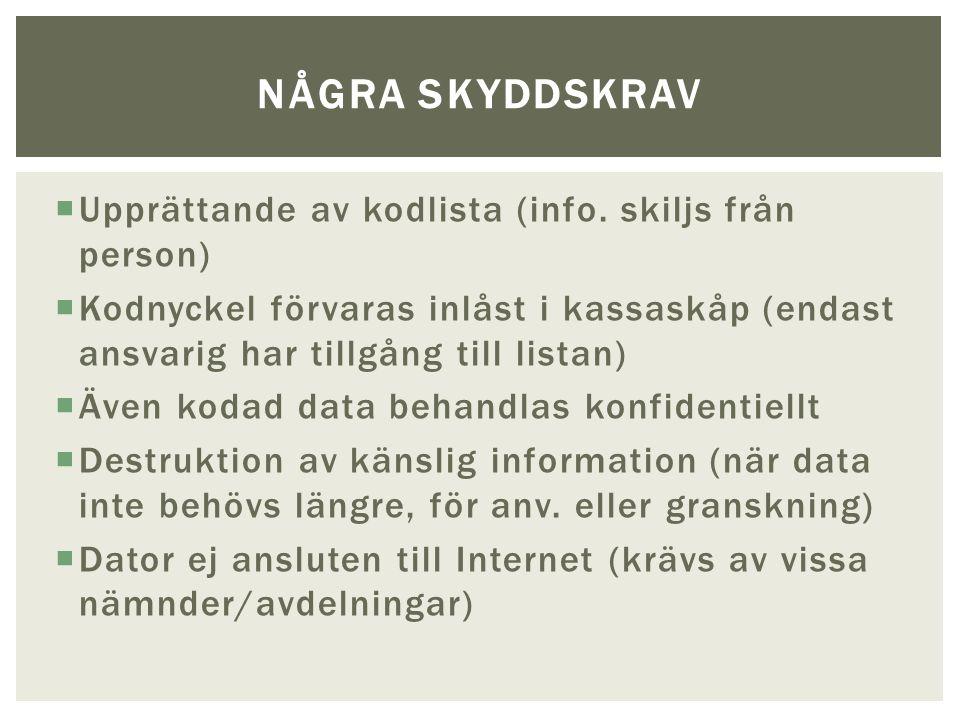  Upprättande av kodlista (info.