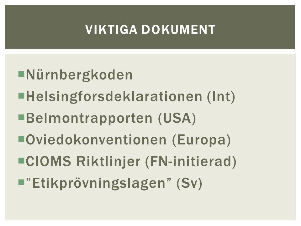  Nürnbergkoden  Helsingforsdeklarationen (Int)  Belmontrapporten (USA)  Oviedokonventionen (Europa)  CIOMS Riktlinjer (FN-initierad)  Etikprövningslagen (Sv) VIKTIGA DOKUMENT
