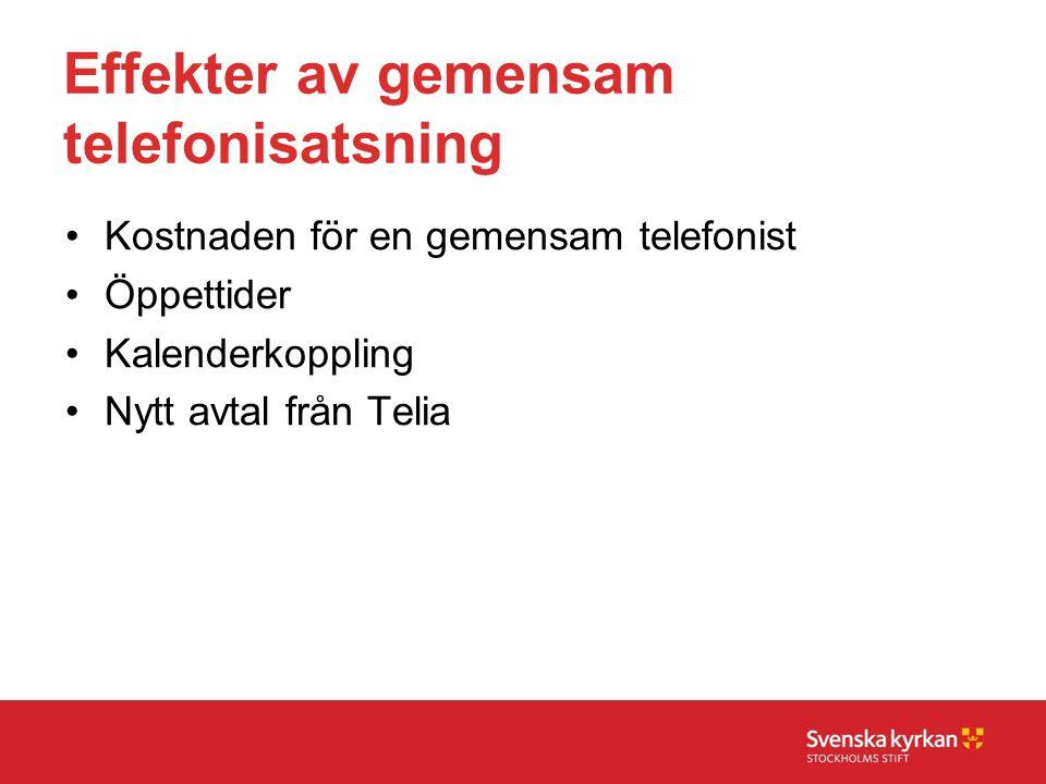 Effekter av gemensam telefonisatsning Kostnaden för en gemensam telefonist Öppettider Kalenderkoppling Nytt avtal från Telia