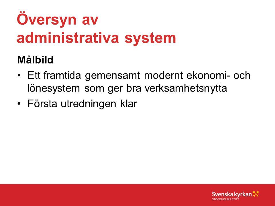 Översyn av administrativa system Målbild Ett framtida gemensamt modernt ekonomi- och lönesystem som ger bra verksamhetsnytta Första utredningen klar