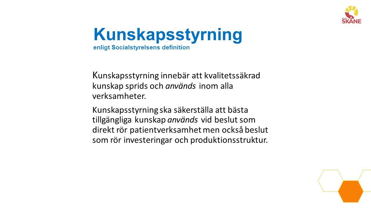 Kunskapsstyrning enligt Socialstyrelsens definition K unskapsstyrning innebär att kvalitetssäkrad kunskap sprids och används inom alla verksamheter.