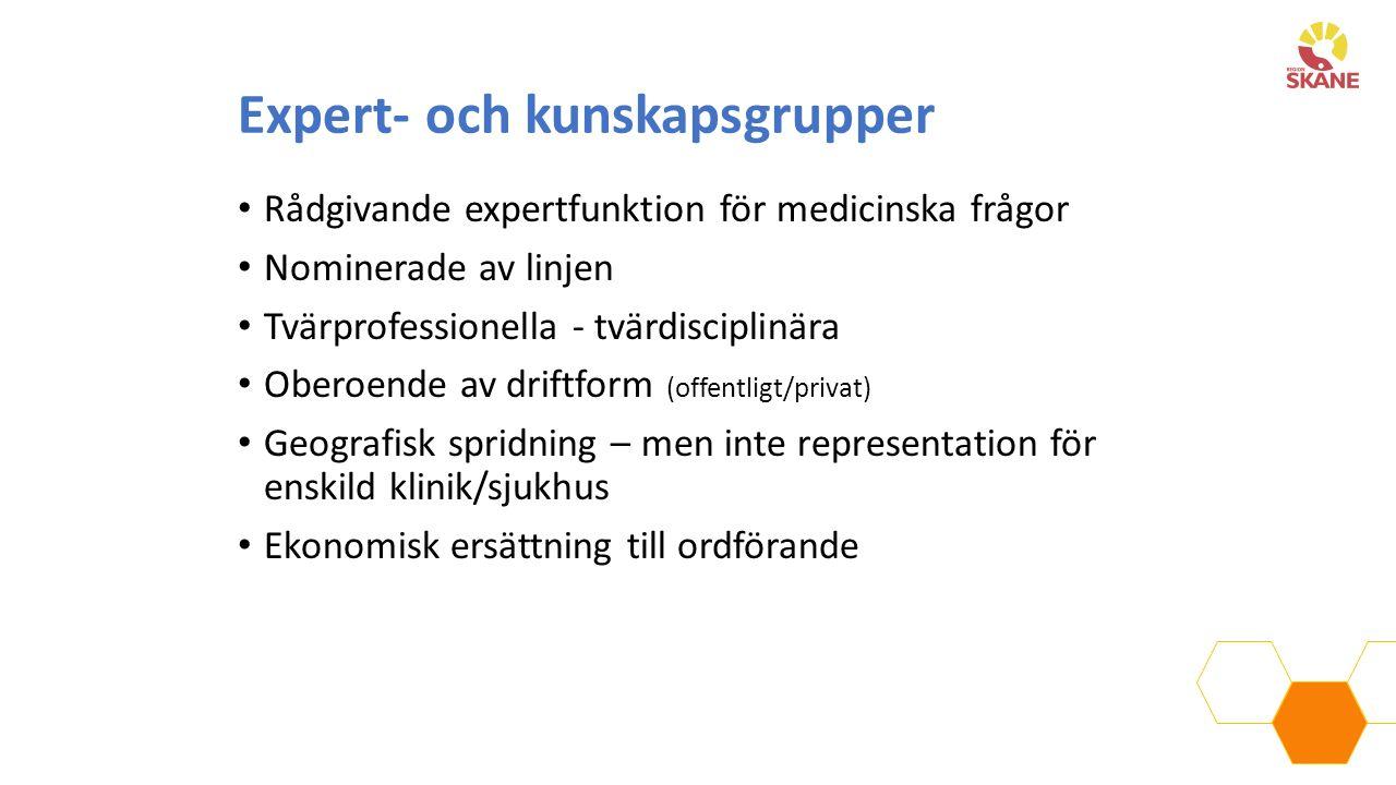 Expert- och kunskapsgrupper Rådgivande expertfunktion för medicinska frågor Nominerade av linjen Tvärprofessionella - tvärdisciplinära Oberoende av dr