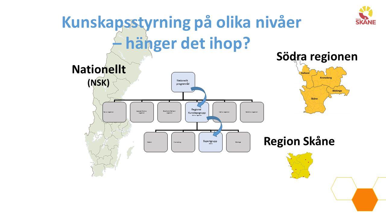 Nationellt (NSK) Södra regionen Region Skåne Nationellt programråd Norra regionen Uppsala-Örebro regionen Stockholm-Gotland regionen Regional Kunskaps