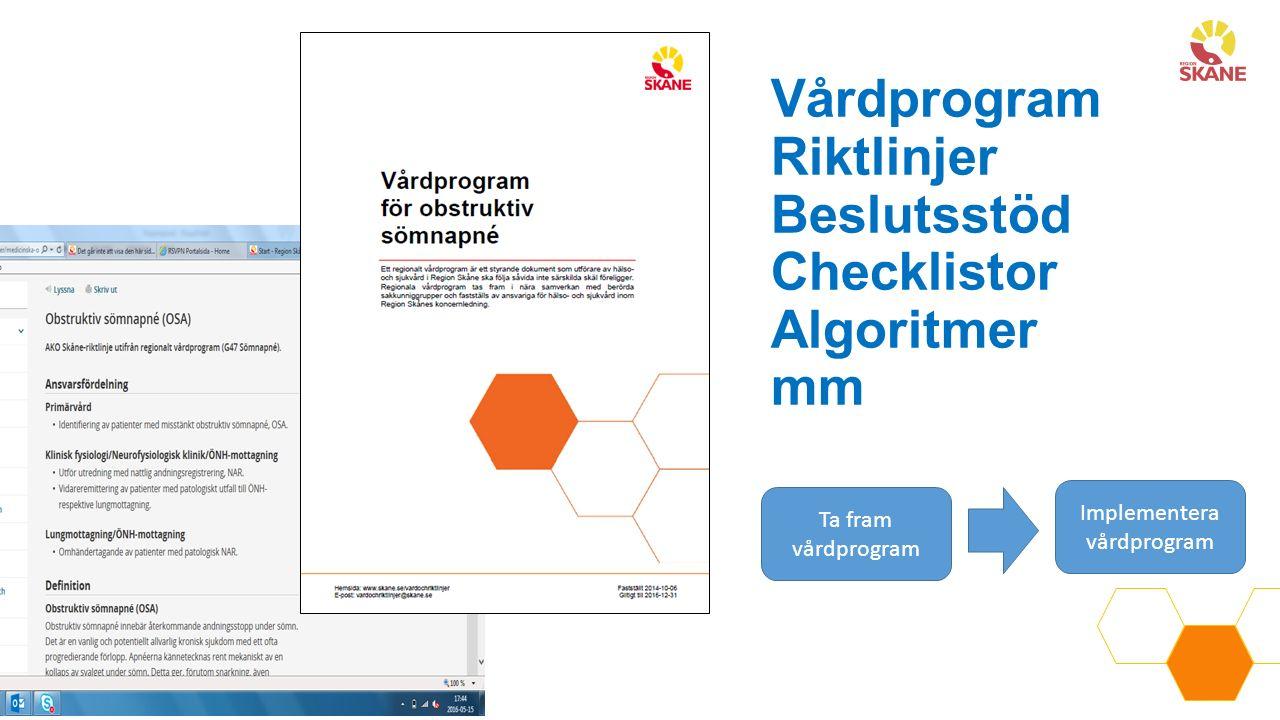 Vårdprogram Riktlinjer Beslutsstöd Checklistor Algoritmer mm Ta fram vårdprogram Implementera vårdprogram
