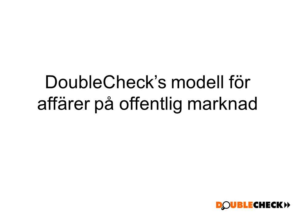 DoubleCheck's modell för affärer på offentlig marknad