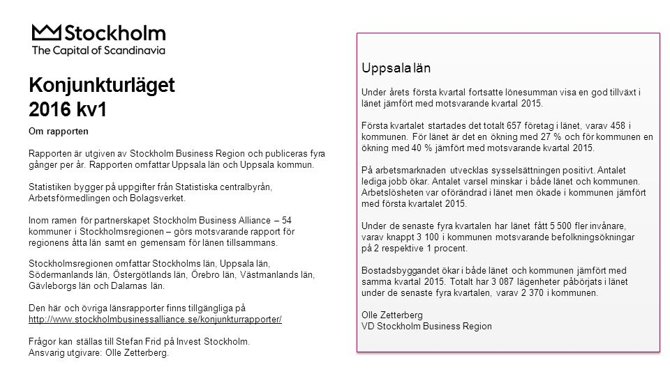 Lönesumma i privat sektor Index 100 = 2005 kv1 2016 kv1 Förändring (%) sedan, Mdkr2005 kv12010 kv12015 kv1 Sverige288,562,230,05,2 Stockholmsregionen149,669,632,05,7 Uppsala län7,481,740,26,0 Källa: Statistiska centralbyrån