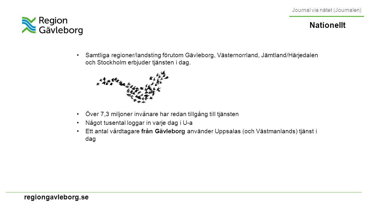 regiongavleborg.se Nationellt Samtliga regioner/landsting förutom Gävleborg, Västernorrland, Jämtland/Härjedalen och Stockholm erbjuder tjänsten i dag.