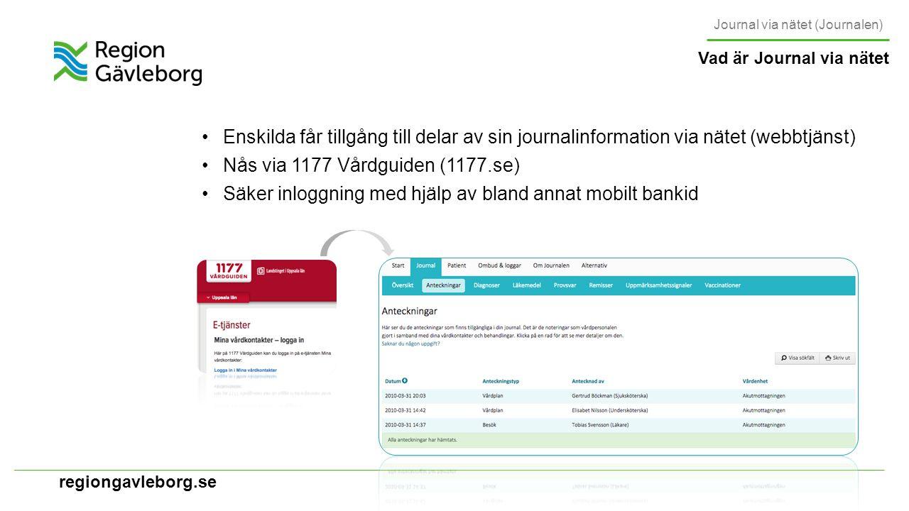 regiongavleborg.se Den nationella ambitionen på sikt är att all digital lagrad patientinformation ska vara åtkomlig för patienten Under de närmaste åren styrs innehållet av de lokala och nationella tekniska förutsättningar ) Innehåll Journal via nätet (Journalen) http://www.inera.se/TJANSTER--PROJEKT/Journalen1/Demomiljo/ Öppen demomiljö: