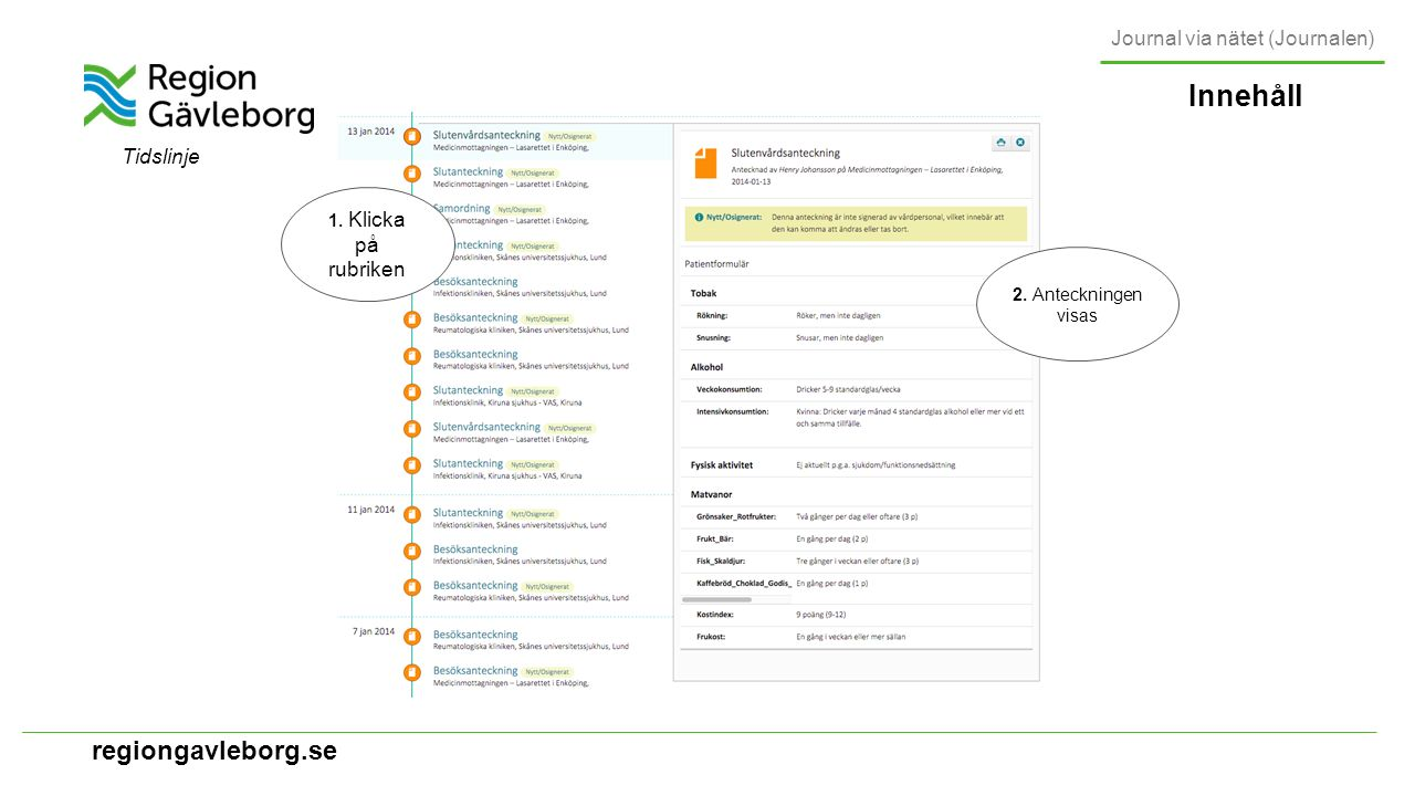 regiongavleborg.se Innehåll Journal via nätet (Journalen) Tidslinje 1.