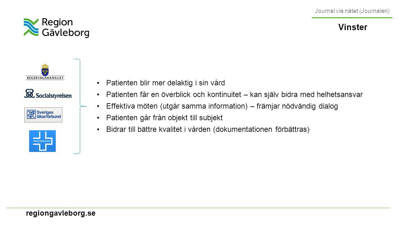 regiongavleborg.se Vinster Patienten blir mer delaktig i sin vård Patienten får en överblick och kontinuitet – kan själv bidra med helhetsansvar Effektiva möten (utgår samma information) – främjar nödvändig dialog Patienten går från objekt till subjekt Bidrar till bättre kvalitet i vården (dokumentationen förbättras) Journal via nätet (Journalen)