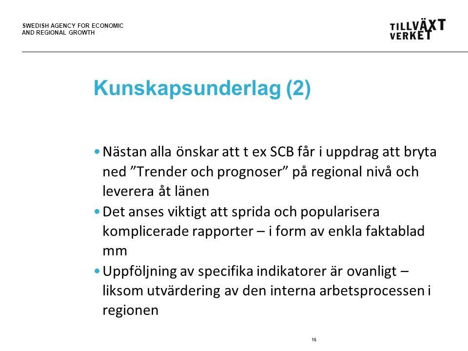 SWEDISH AGENCY FOR ECONOMIC AND REGIONAL GROWTH Kunskapsunderlag (2) Nästan alla önskar att t ex SCB får i uppdrag att bryta ned Trender och prognoser på regional nivå och leverera åt länen Det anses viktigt att sprida och popularisera komplicerade rapporter – i form av enkla faktablad mm Uppföljning av specifika indikatorer är ovanligt – liksom utvärdering av den interna arbetsprocessen i regionen 16