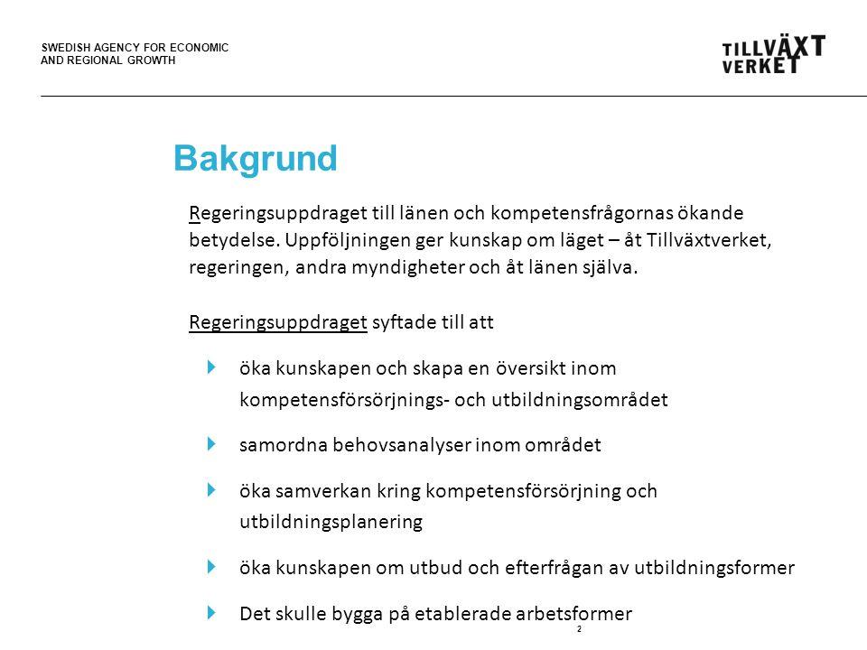 SWEDISH AGENCY FOR ECONOMIC AND REGIONAL GROWTH Bakgrund Regeringsuppdraget till länen och kompetensfrågornas ökande betydelse.