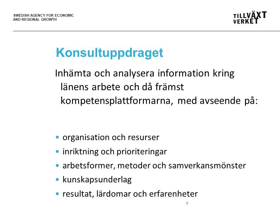 SWEDISH AGENCY FOR ECONOMIC AND REGIONAL GROWTH Konsultuppdraget Inhämta och analysera information kring länens arbete och då främst kompetensplattformarna, med avseende på: organisation och resurser inriktning och prioriteringar arbetsformer, metoder och samverkansmönster kunskapsunderlag resultat, lärdomar och erfarenheter 3