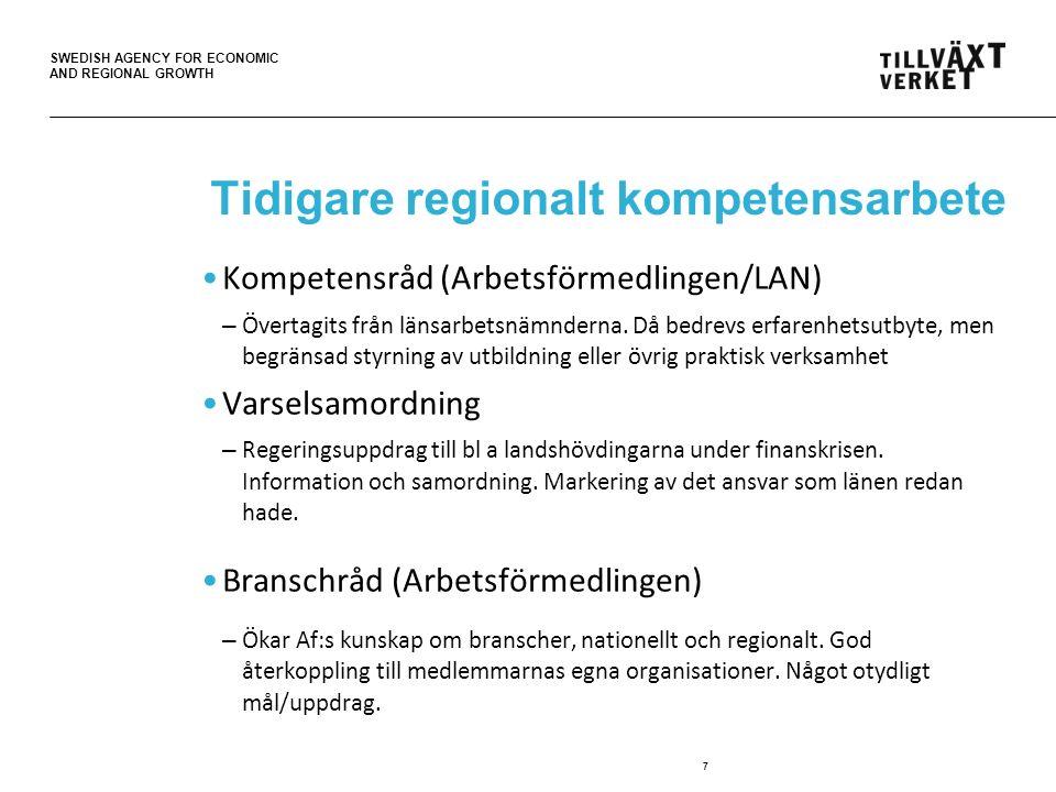 SWEDISH AGENCY FOR ECONOMIC AND REGIONAL GROWTH Tidigare regionalt kompetensarbete Kompetensråd (Arbetsförmedlingen/LAN) – Övertagits från länsarbetsnämnderna.