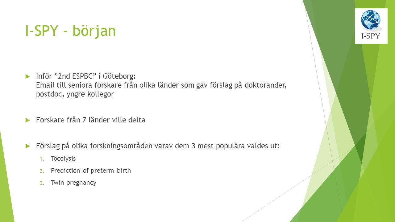 I-SPY - början  Inför 2nd ESPBC i Göteborg: Email till seniora forskare från olika länder som gav förslag på doktorander, postdoc, yngre kollegor  Forskare från 7 länder ville delta  Förslag på olika forskningsområden varav dem 3 mest populära valdes ut: 1.
