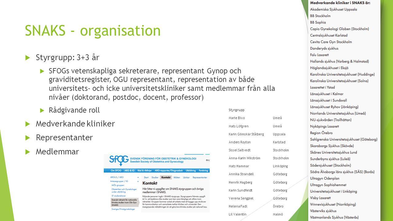 SNAKS - organisation  Styrgrupp: 3+3 år  SFOGs vetenskapliga sekreterare, representant Gynop och graviditetsregister, OGU representant, representati