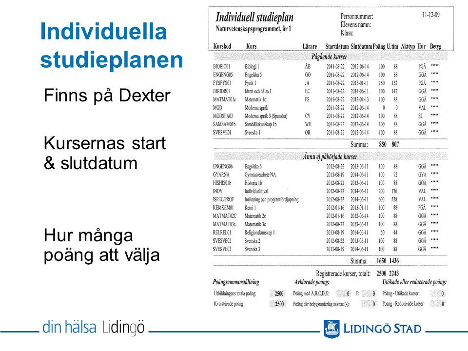 Individuella studieplanen Finns på Dexter Kursernas start & slutdatum Hur många poäng att välja