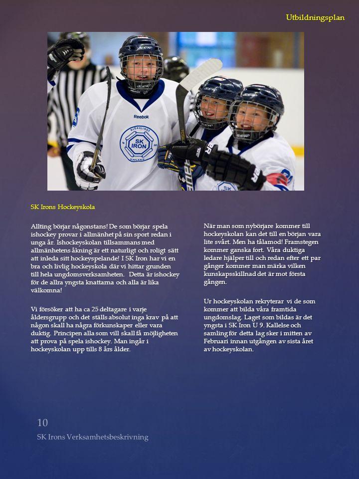 10 SK Irons Verksamhetsbeskrivning Utbildningsplan SK Irons Hockeyskola Allting börjar någonstans! De som börjar spela ishockey provar i allmänhet på