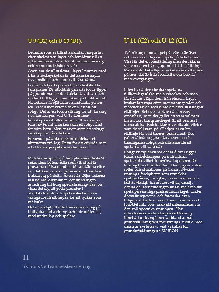11 SK Irons Verksamhetsbeskrivning U 9 (D2) och U 10 (D1). Ledarna som är tillsatta samlar i augustin efter skolstarten laget och föräldrar till ett i