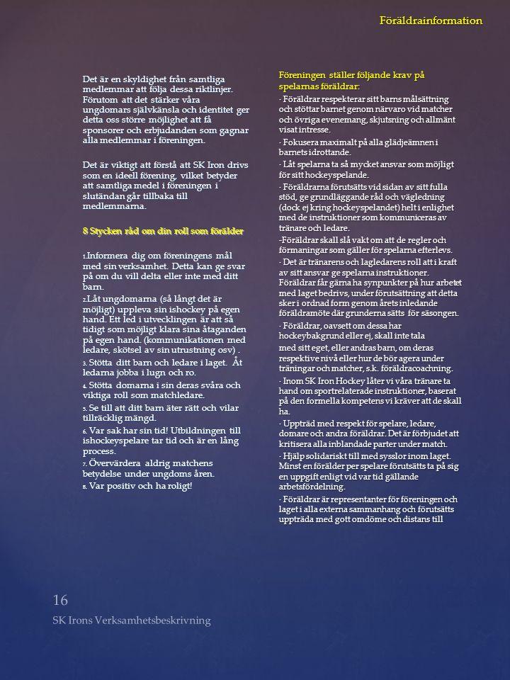 16 SK Irons Verksamhetsbeskrivning Föräldrainformation Det är en skyldighet från samtliga medlemmar att följa dessa riktlinjer. Förutom att det stärke