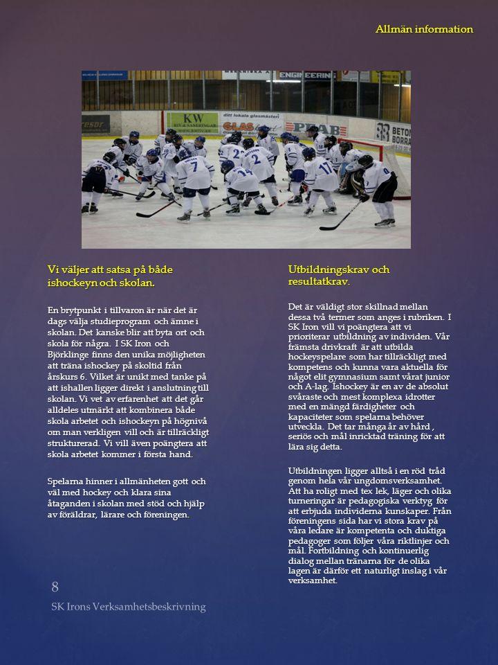 8 SK Irons Verksamhetsbeskrivning Allmän information Vi väljer att satsa på både ishockeyn och skolan. En brytpunkt i tillvaron är när det är dags väl