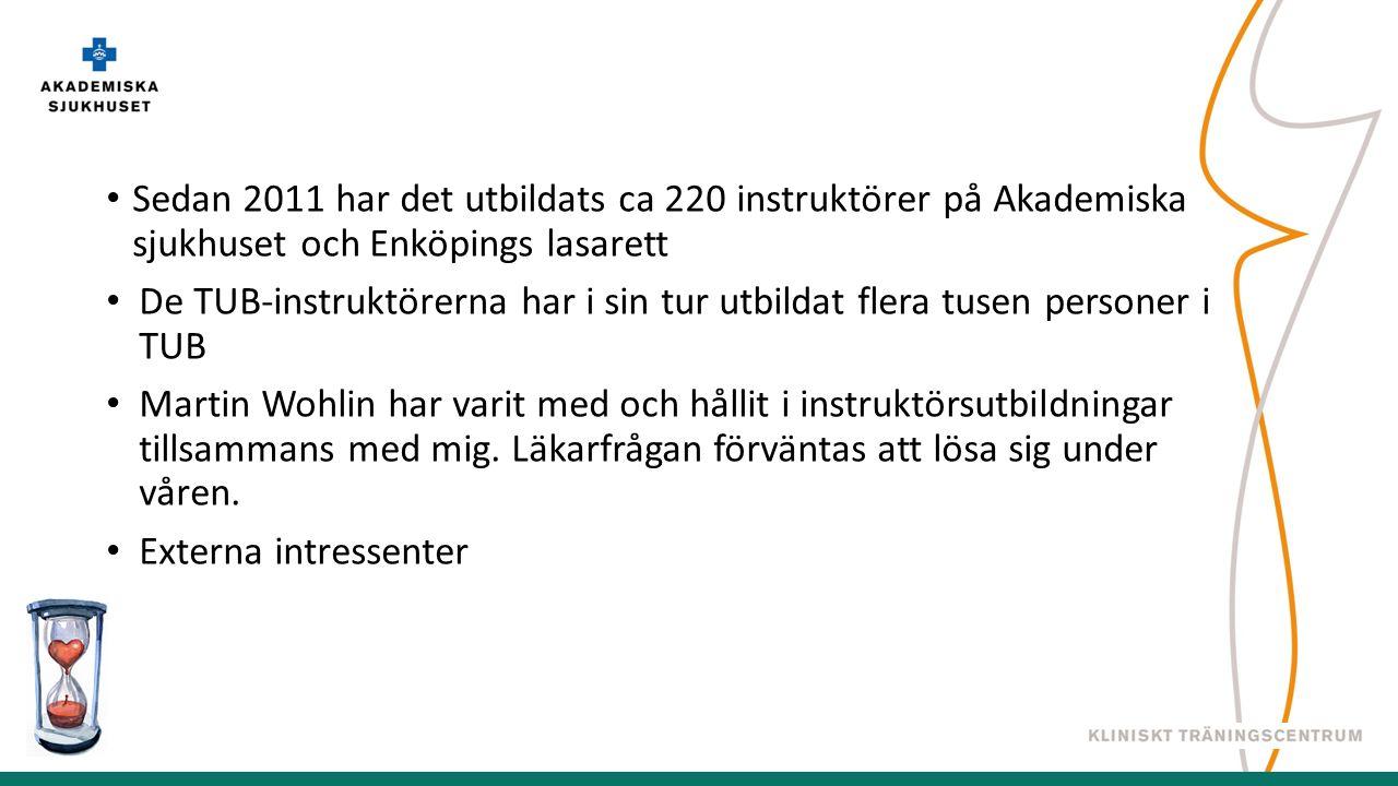 Sedan 2011 har det utbildats ca 220 instruktörer på Akademiska sjukhuset och Enköpings lasarett De TUB-instruktörerna har i sin tur utbildat flera tusen personer i TUB Martin Wohlin har varit med och hållit i instruktörsutbildningar tillsammans med mig.