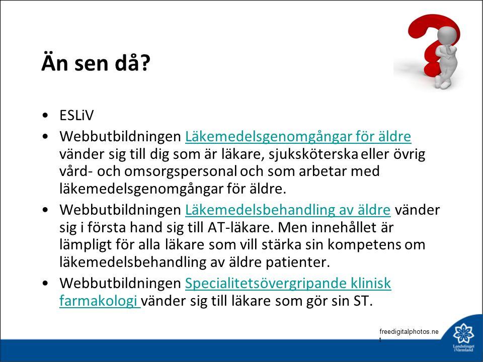 Än sen då? ESLiV Webbutbildningen Läkemedelsgenomgångar för äldre vänder sig till dig som är läkare, sjuksköterska eller övrig vård- och omsorgsperson