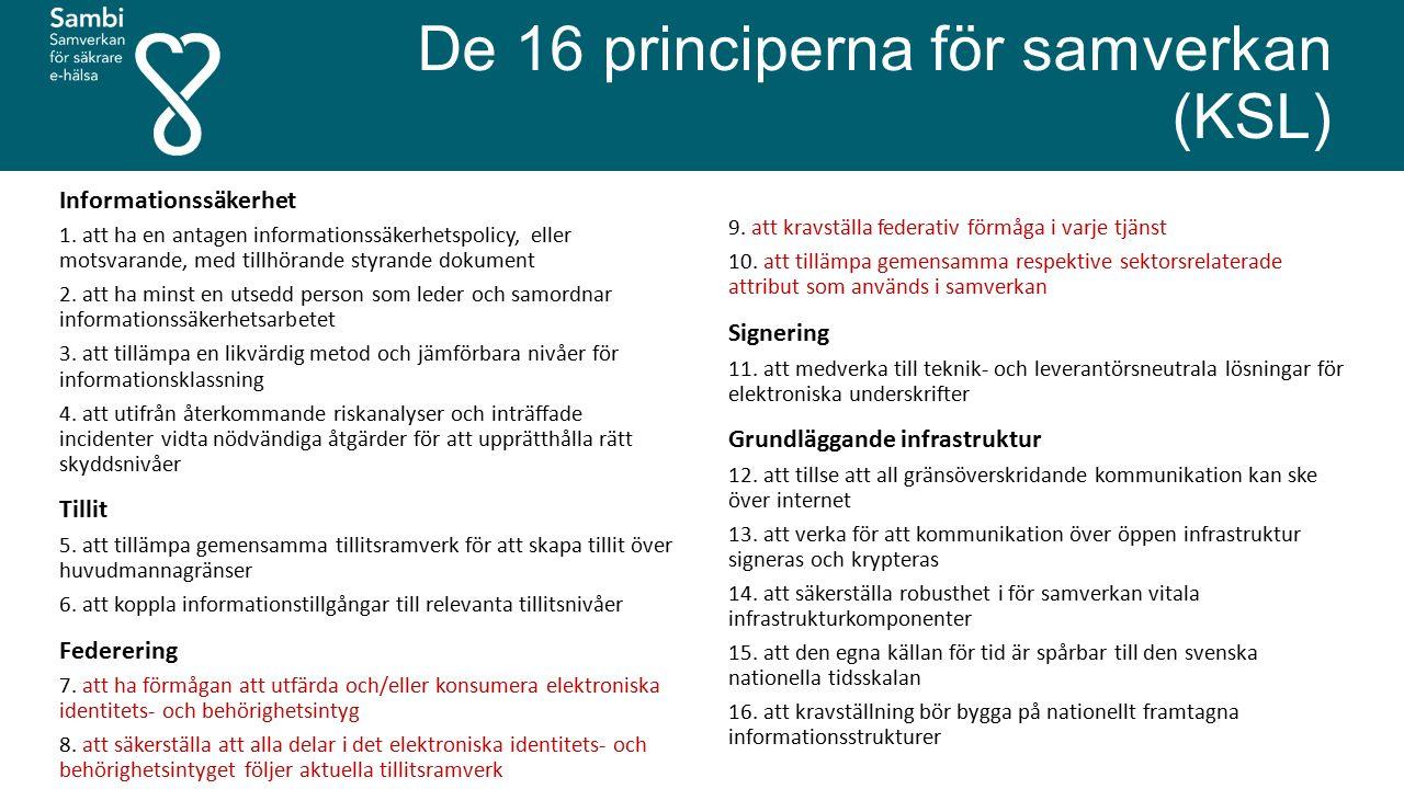 De 16 principerna för samverkan (KSL) Informationssäkerhet 1. att ha en antagen informationssäkerhetspolicy, eller motsvarande, med tillhörande styran
