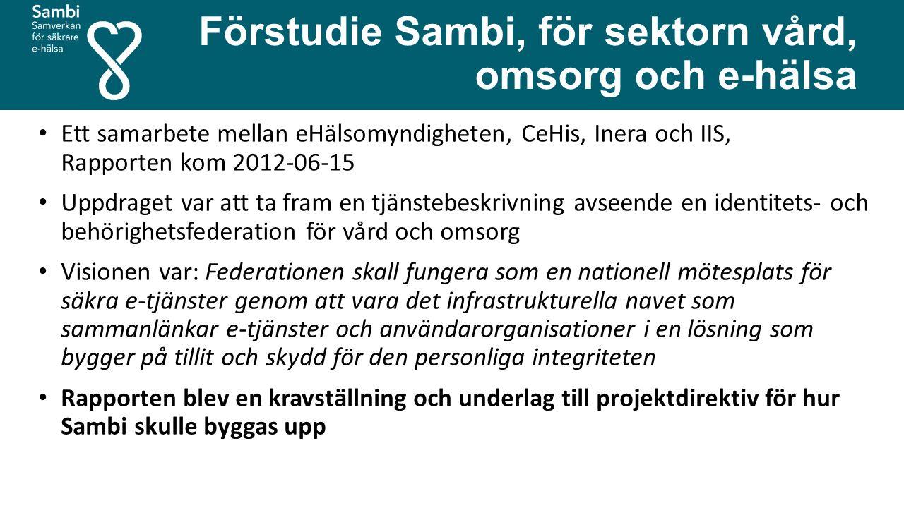 Förstudie Sambi, för sektorn vård, omsorg och e-hälsa Ett samarbete mellan eHälsomyndigheten, CeHis, Inera och IIS, Rapporten kom 2012-06-15 Uppdraget