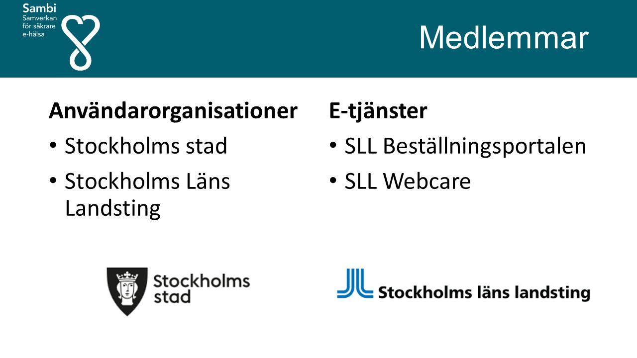 Medlemmar Användarorganisationer Stockholms stad Stockholms Läns Landsting E-tjänster SLL Beställningsportalen SLL Webcare