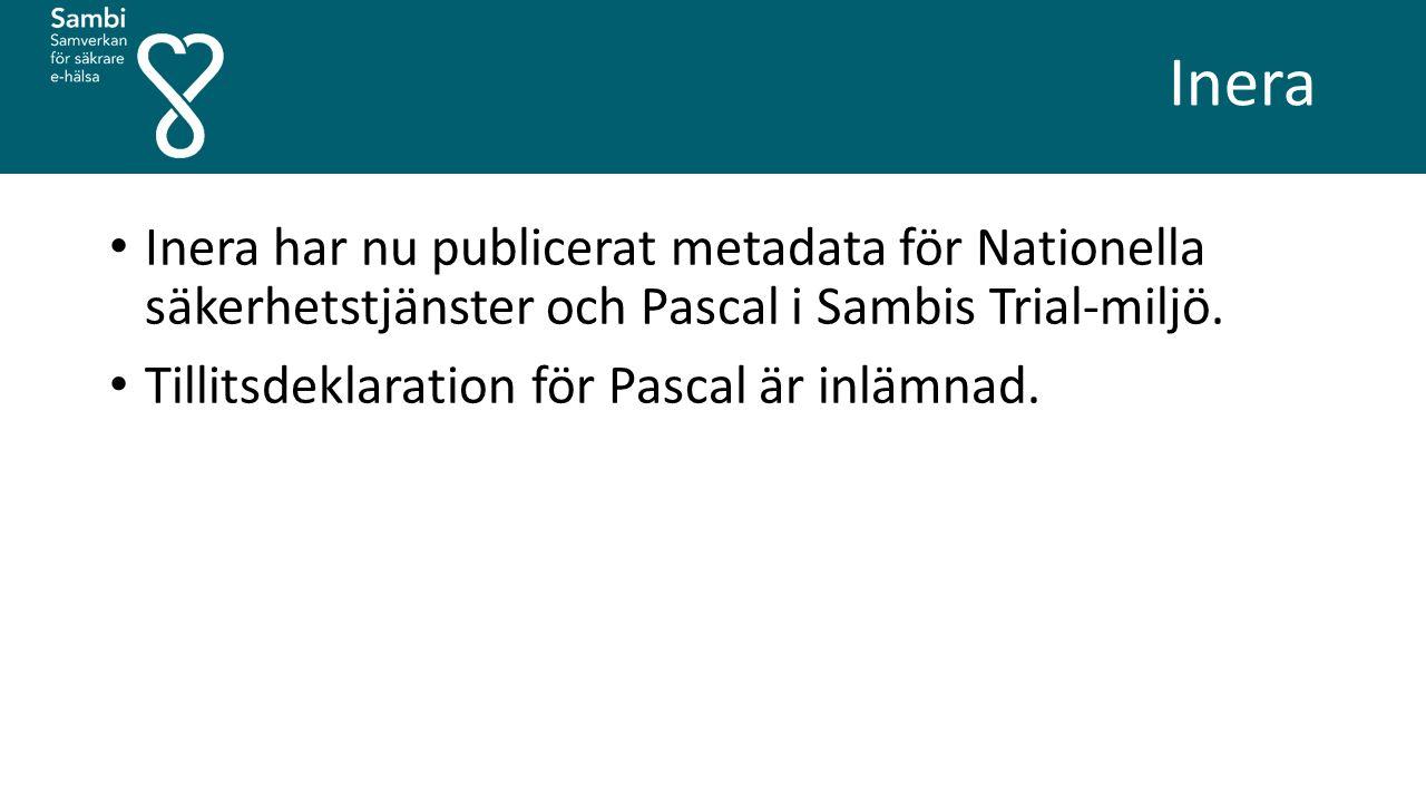 Inera Inera har nu publicerat metadata för Nationella säkerhetstjänster och Pascal i Sambis Trial-miljö. Tillitsdeklaration för Pascal är inlämnad.