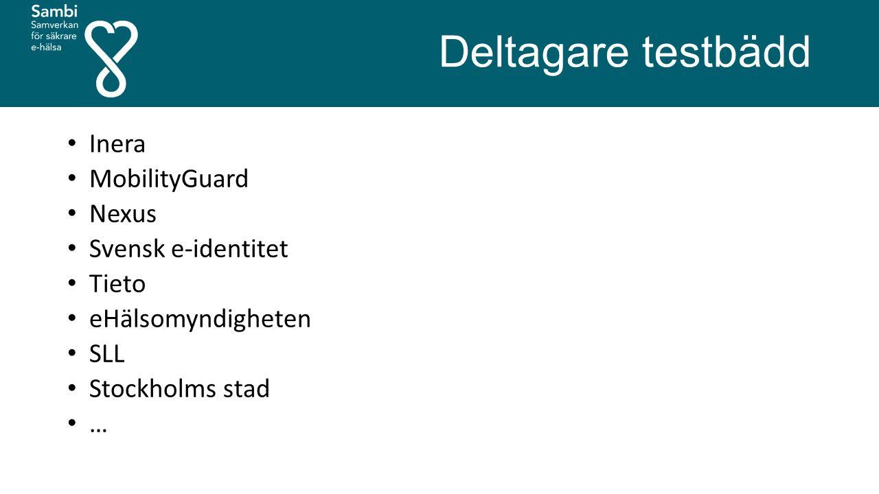 Deltagare testbädd Inera MobilityGuard Nexus Svensk e-identitet Tieto eHälsomyndigheten SLL Stockholms stad …