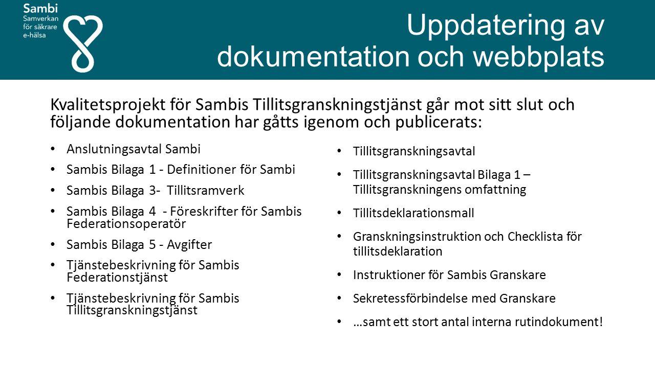Uppdatering av dokumentation och webbplats Kvalitetsprojekt för Sambis Tillitsgranskningstjänst går mot sitt slut och följande dokumentation har gåtts