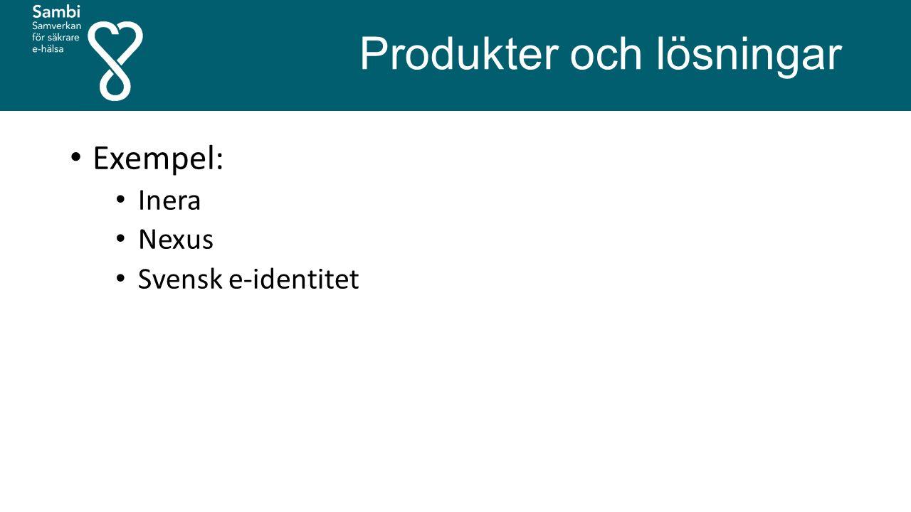 Produkter och lösningar Exempel: Inera Nexus Svensk e-identitet