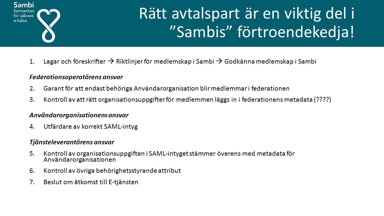 """Rätt avtalspart är en viktig del i """"Sambis"""" förtroendekedja! 1.Lagar och föreskrifter  Riktlinjer för medlemskap i Sambi  Godkänna medlemskap i Samb"""