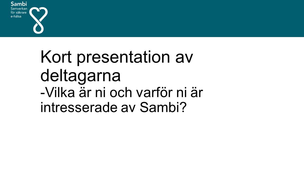 Kort presentation av deltagarna -Vilka är ni och varför ni är intresserade av Sambi