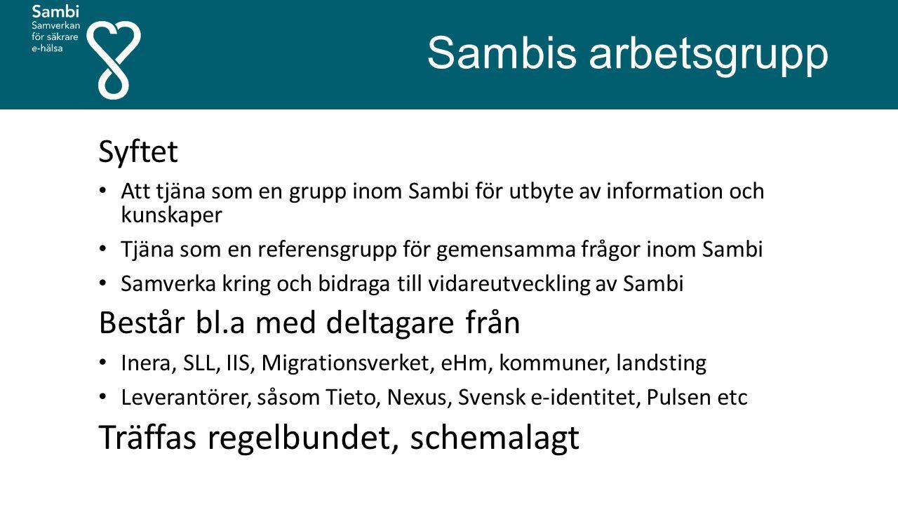 Sambis arbetsgrupp Syftet Att tjäna som en grupp inom Sambi för utbyte av information och kunskaper Tjäna som en referensgrupp för gemensamma frågor i