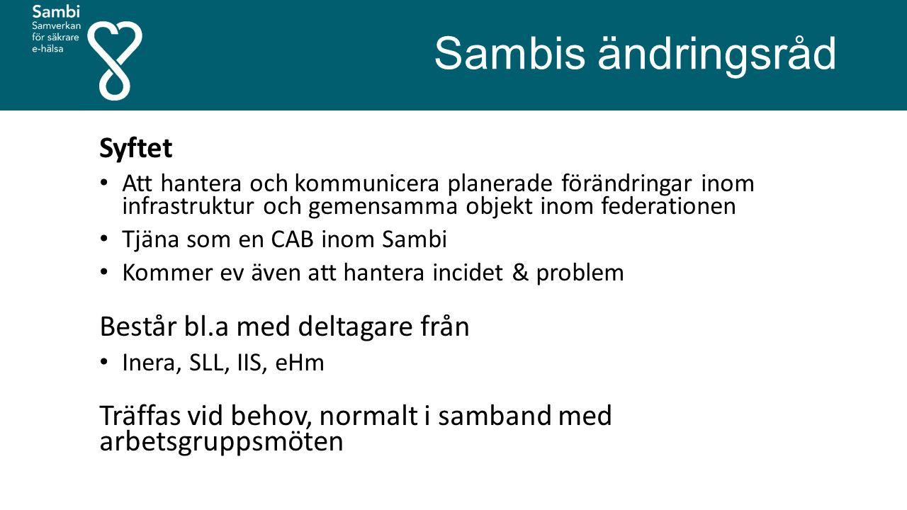 Sambis ändringsråd Syftet Att hantera och kommunicera planerade förändringar inom infrastruktur och gemensamma objekt inom federationen Tjäna som en C