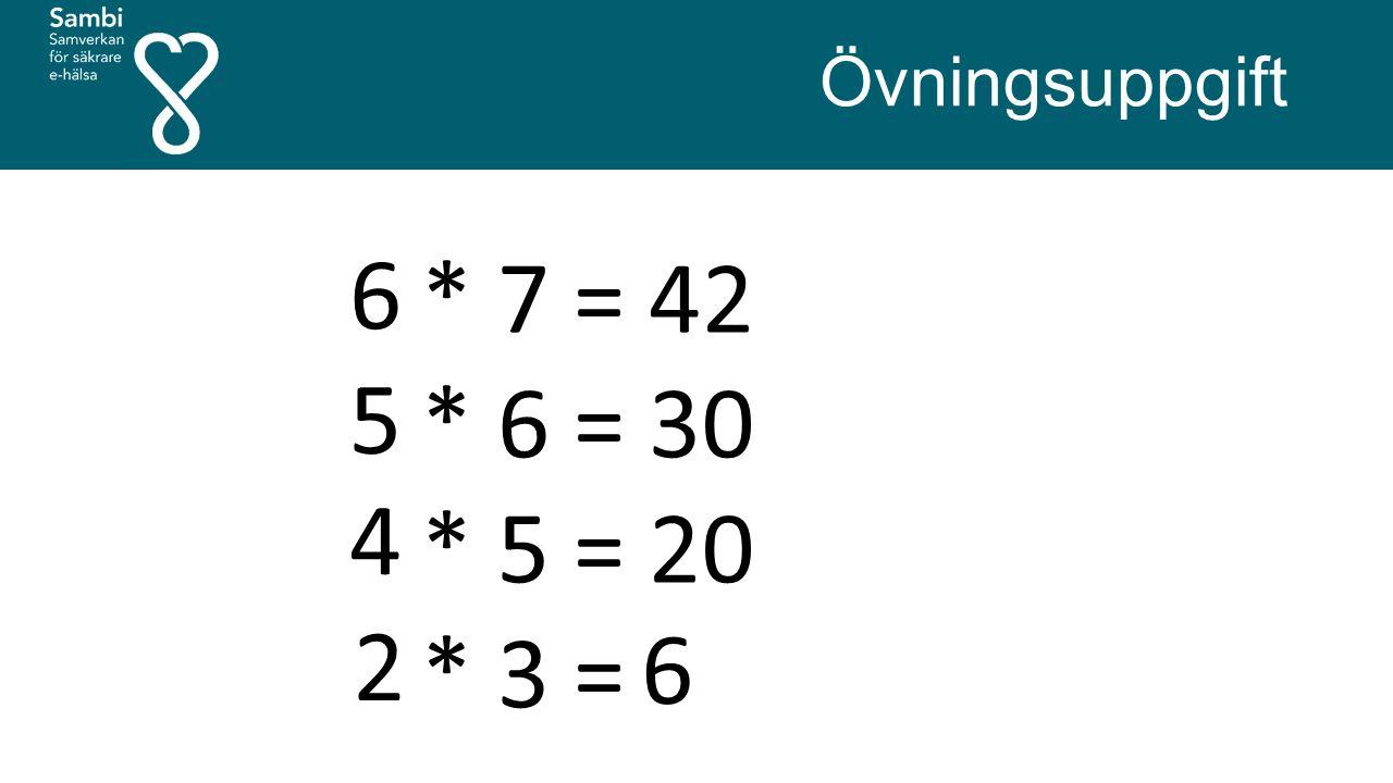 * 7 = 42 * 6 = 30 * 5 = 20 * 3 = X Övningsuppgift 6 5 4 2 6