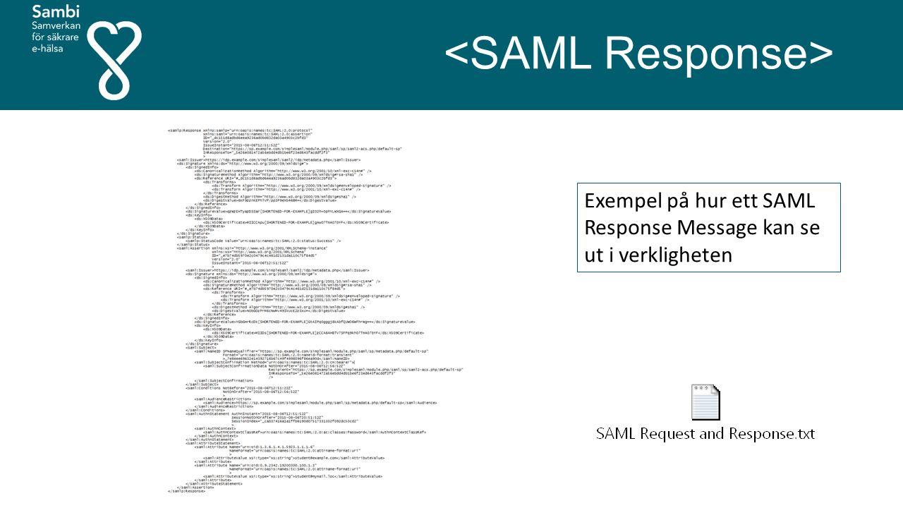 Exempel på hur ett SAML Response Message kan se ut i verkligheten