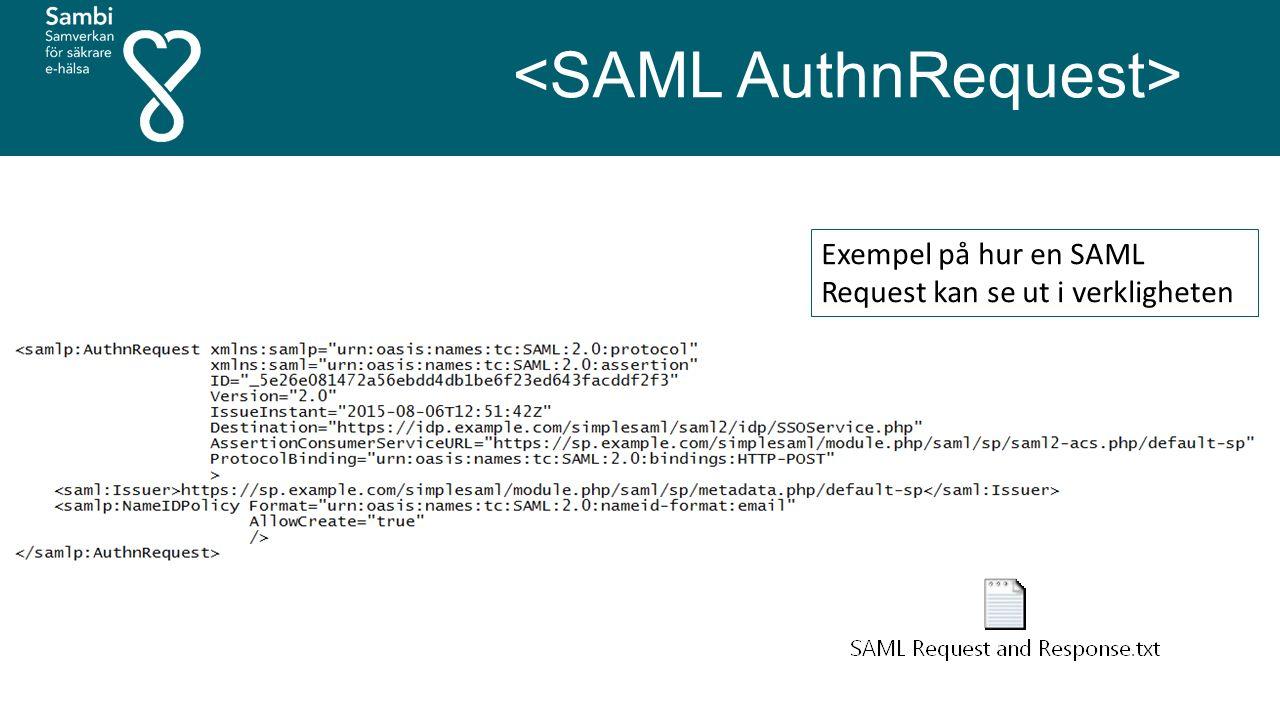 Exempel på hur en SAML Request kan se ut i verkligheten