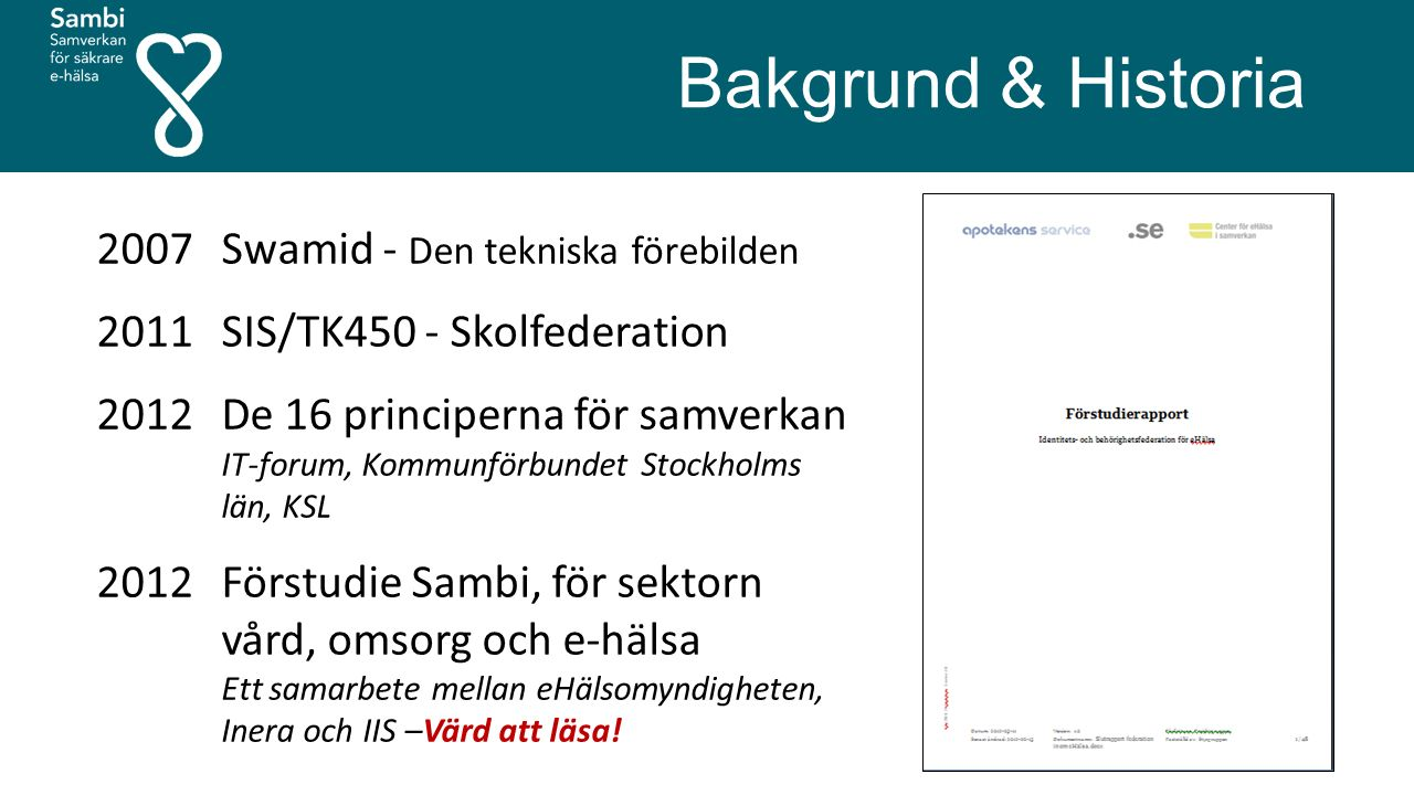 2007 Swamid - Den tekniska förebilden 2011 SIS/TK450 - Skolfederation 2012 De 16 principerna för samverkan IT-forum, Kommunförbundet Stockholms län, KSL 2012 Förstudie Sambi, för sektorn vård, omsorg och e-hälsa Ett samarbete mellan eHälsomyndigheten, Inera och IIS –Värd att läsa.