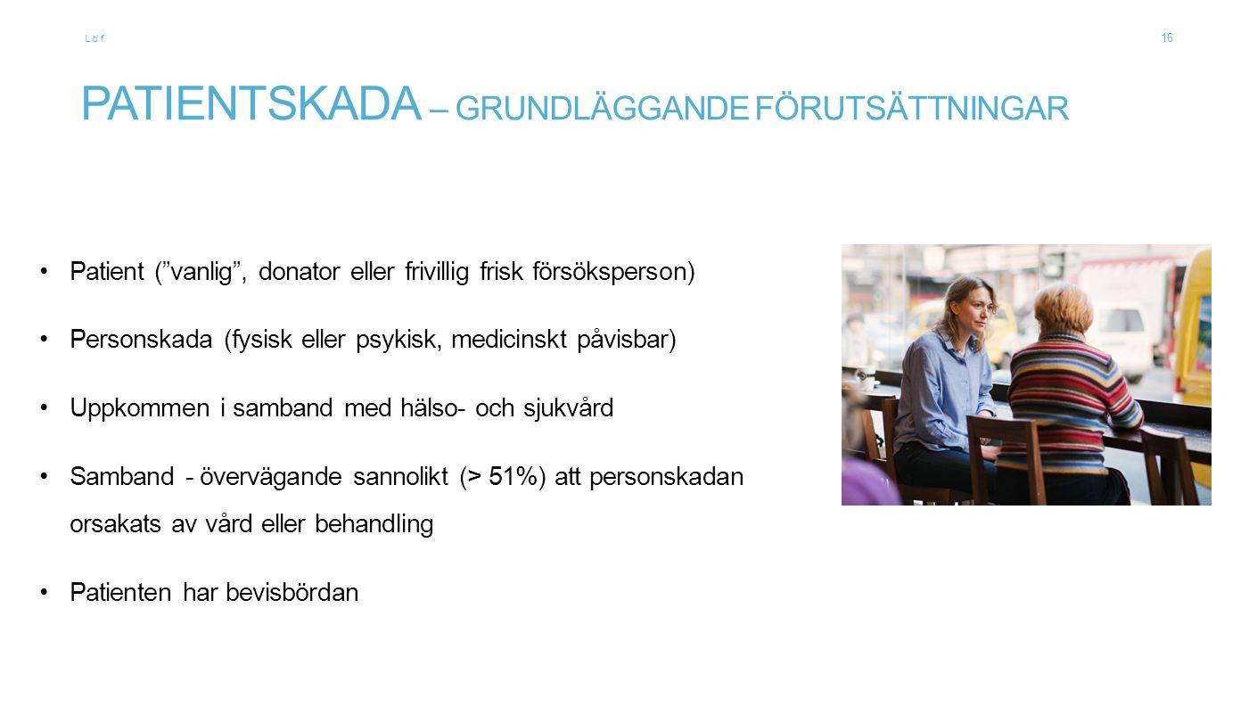"""Löf PATIENTSKADA – GRUNDLÄGGANDE FÖRUTSÄTTNINGAR Patient (""""vanlig"""", donator eller frivillig frisk försöksperson) Personskada (fysisk eller psykisk, me"""