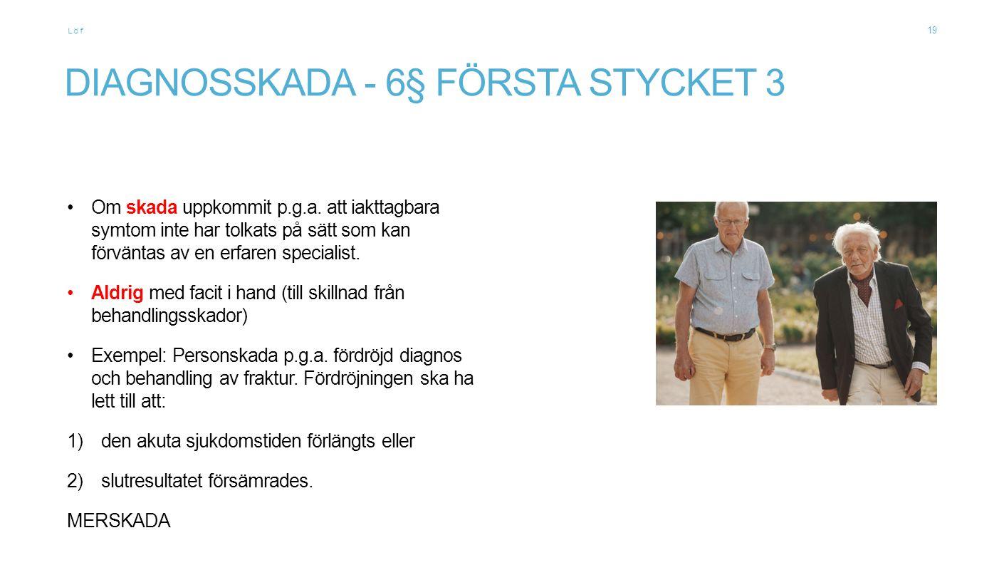 Löf DIAGNOSSKADA - 6§ FÖRSTA STYCKET 3 Om skada uppkommit p.g.a.
