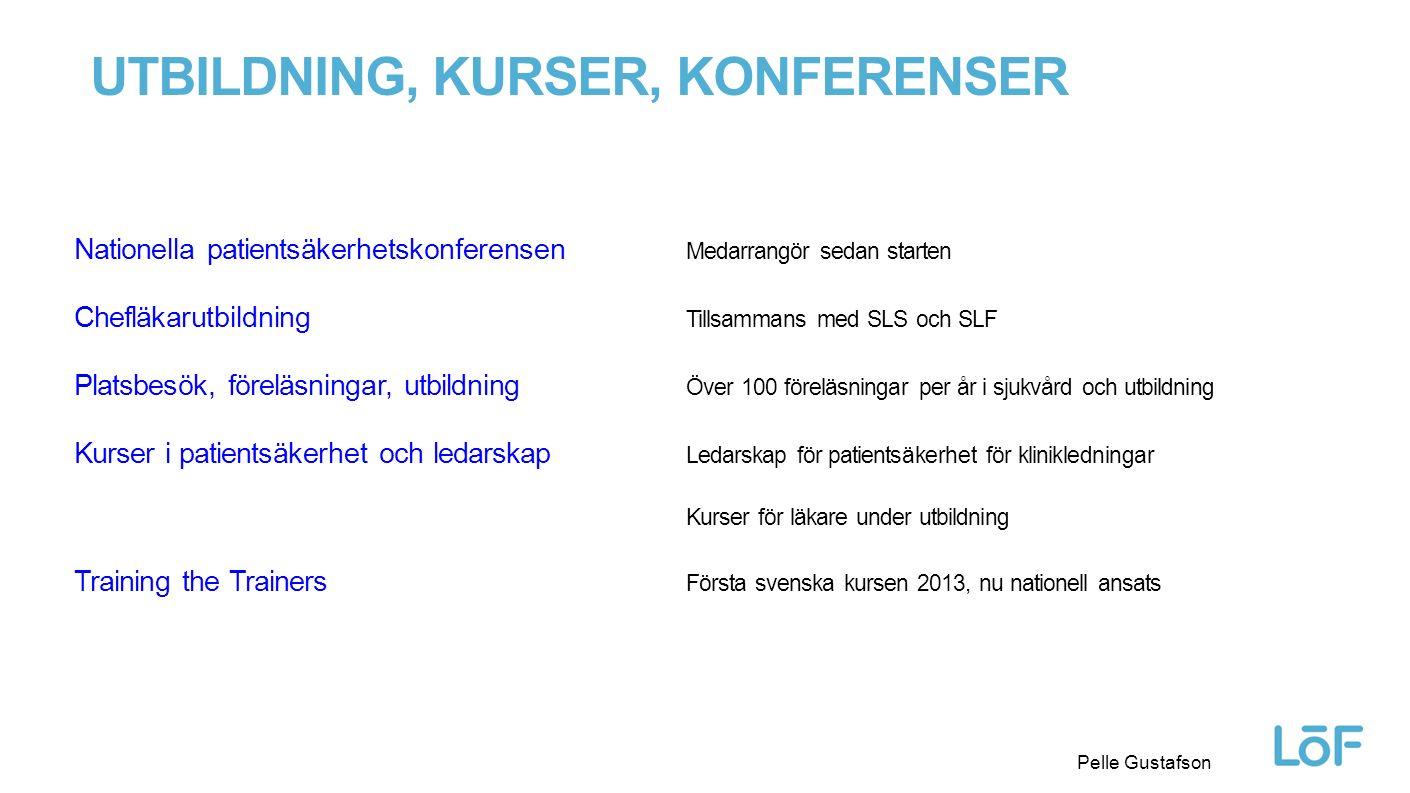 Löf Pelle Gustafson UTBILDNING, KURSER, KONFERENSER Nationella patientsäkerhetskonferensen Medarrangör sedan starten Chefläkarutbildning Tillsammans m
