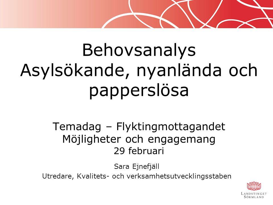 Behovsanalys Asylsökande, nyanlända och papperslösa Temadag – Flyktingmottagandet Möjligheter och engagemang 29 februari Sara Ejnefjäll Utredare, Kval