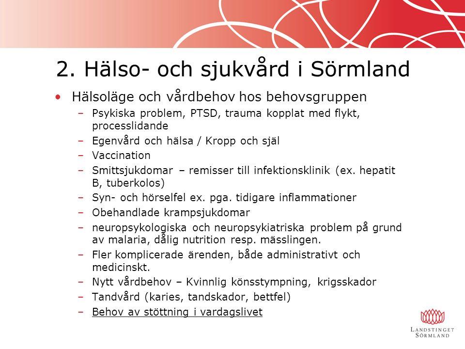 2. Hälso- och sjukvård i Sörmland Hälsoläge och vårdbehov hos behovsgruppen –Psykiska problem, PTSD, trauma kopplat med flykt, processlidande –Egenvår