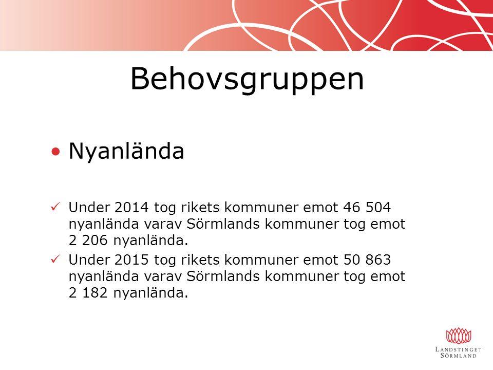 Behovsgruppen Nyanlända Under 2014 tog rikets kommuner emot 46 504 nyanlända varav Sörmlands kommuner tog emot 2 206 nyanlända. Under 2015 tog rikets