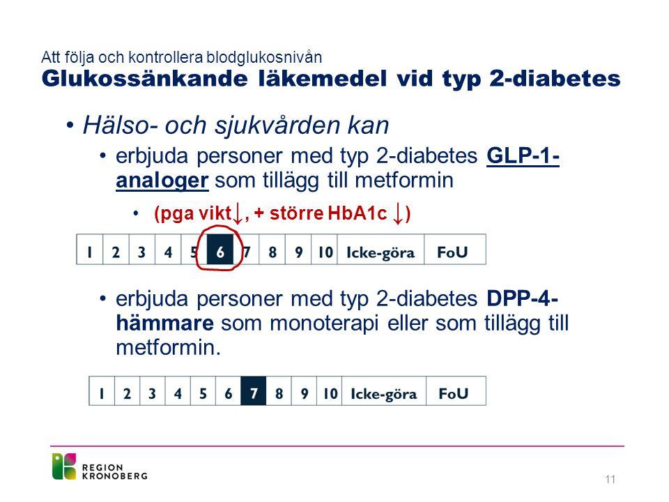Hälso- och sjukvården kan erbjuda personer med typ 2-diabetes GLP-1- analoger som tillägg till metformin (pga vikt ↓, + större HbA1c ↓ ) erbjuda personer med typ 2-diabetes DPP-4- hämmare som monoterapi eller som tillägg till metformin.